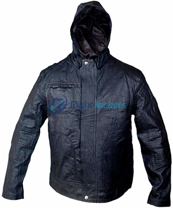 MI 4 Ghost Protocol Ethan Hunt Hooded Black Faux Leather Jacket