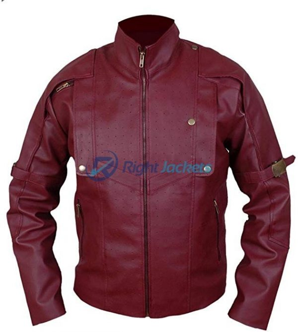 Maroon Star Lord Guardians Of Galaxy Brown Leather Jacket
