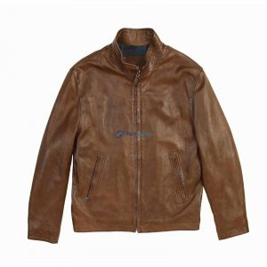 Mens Brown Zipper Stylish leather jacket