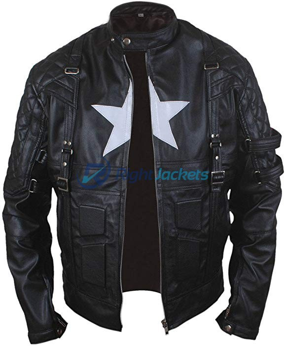 New Age Captain Star Shield Black Leather Jacket