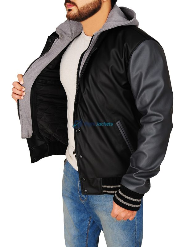 Obey Varsity Black And Grey Hoodie Leather Jacket
