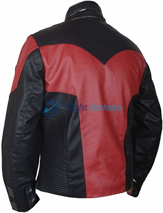 Paul Rudd Ant Man Film Black And Red Leather Jacket