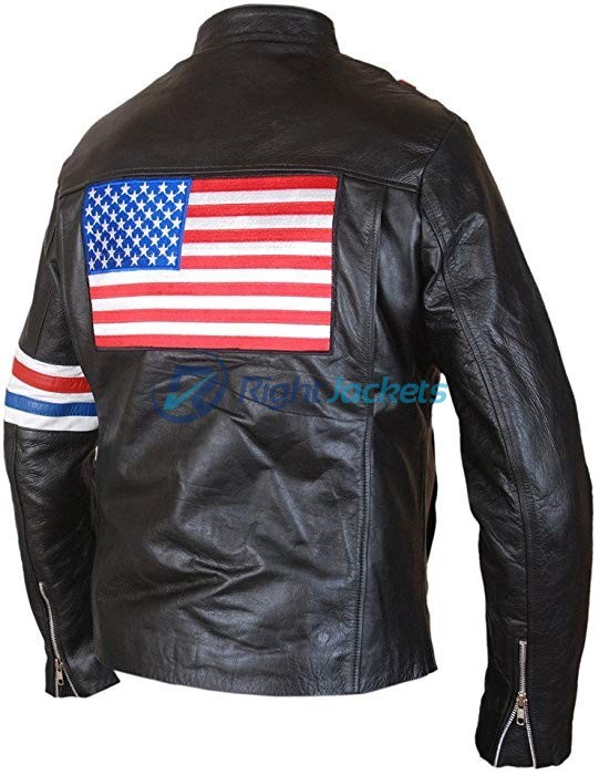 Peter Fonda US Flag Easy Rider Black Leather Jacket