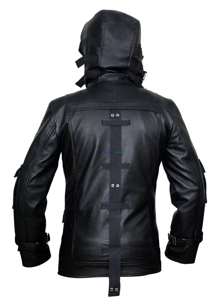 Pubg Game Pocket Shoulder Black Coat Hooded Costumes Leather Jacket
