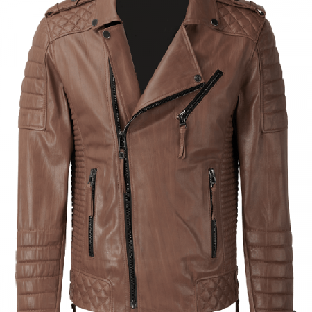 Quilted Men Creased Leather Jacket