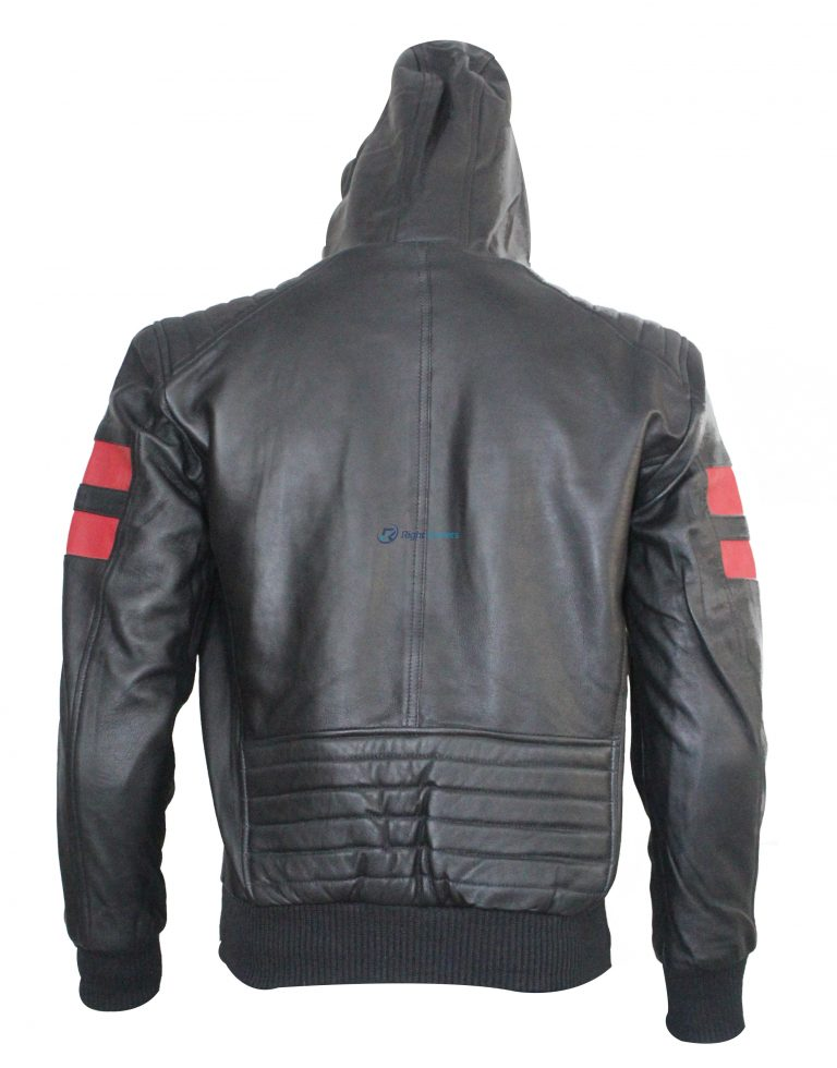 Red Stripe In Shoulder Leather Bikers Jacket