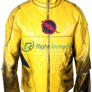 Reverse Flash Eobard Thawne Zoom Yellow Lightning Leather Jacket