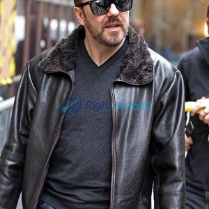Ricky Gervais After Life Black Fur Leather Jacket