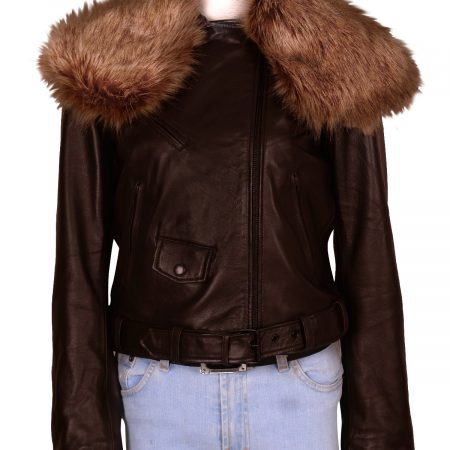 Rihanna Raccoon Fur Leather Jacket