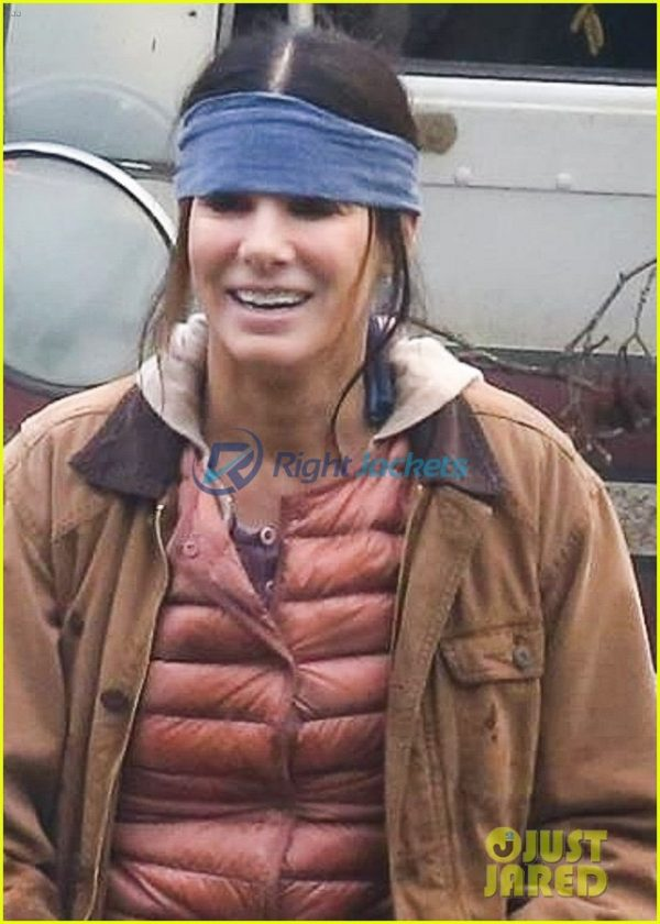 Sandra Bullock Netflix Movie Bird Box Stylish Brown Leather Jacket
