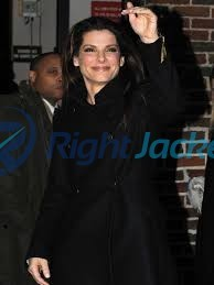 Sandra Bullock Stylish Black Long Trench Coat