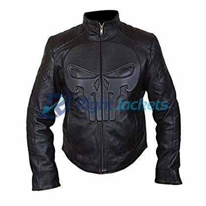 Skull Logo Designs Black Leather Punisher Skull Biker Jacket