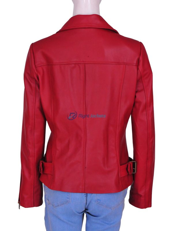 Spiderman 2 Amazing Movie Lily Collins Red Leather Jacket