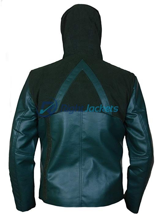 Stephen Amell Arrow Green Faux Jacket with Removable Hood
