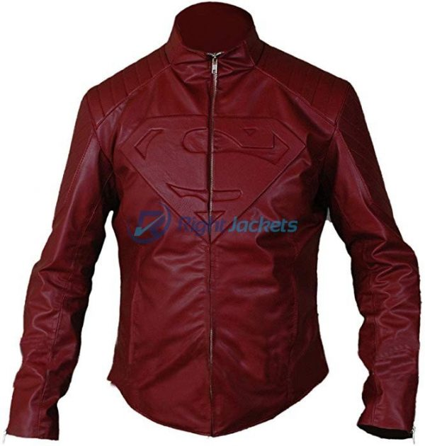 Superman Red Faux Leather Jacket