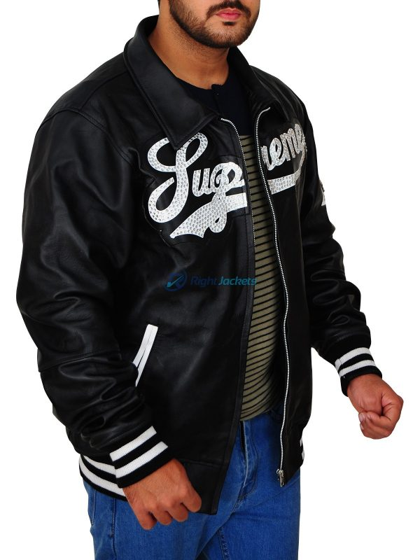 Supreme Mens Bomber Black Leather Jacket