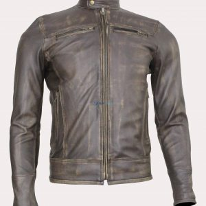 Triple Stitch Beltless Distressed Brown Leather Bomber Jacket