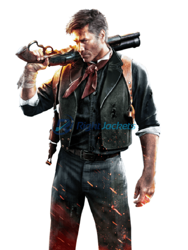 Troy Baker BioShock Infinite Booker DeWitt Leather Black Vest