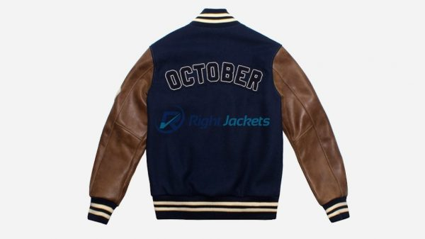 October Varsity Drake Team Blue Stylish Leather jacket