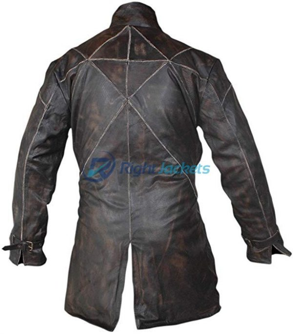 Watch Dogs Aiden Pearce Black Leather Trench Coat