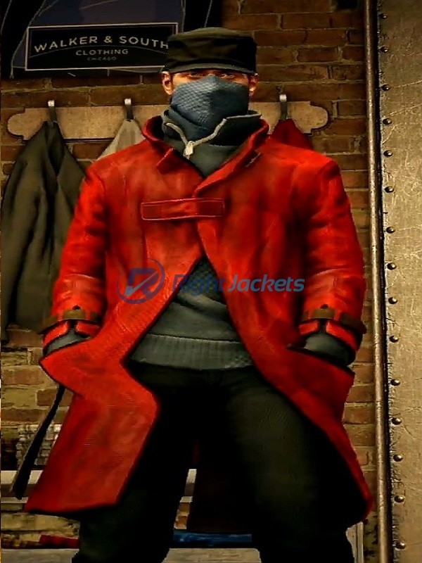 Watch Dogs Video Game Aiden Pearce Red Leather Coat