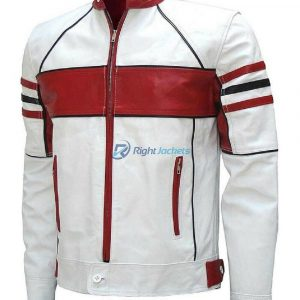 White Bikers Red Detailed leather Stylish Jacket