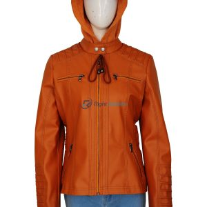 Women's Removable Hood Brown Leather Jacket