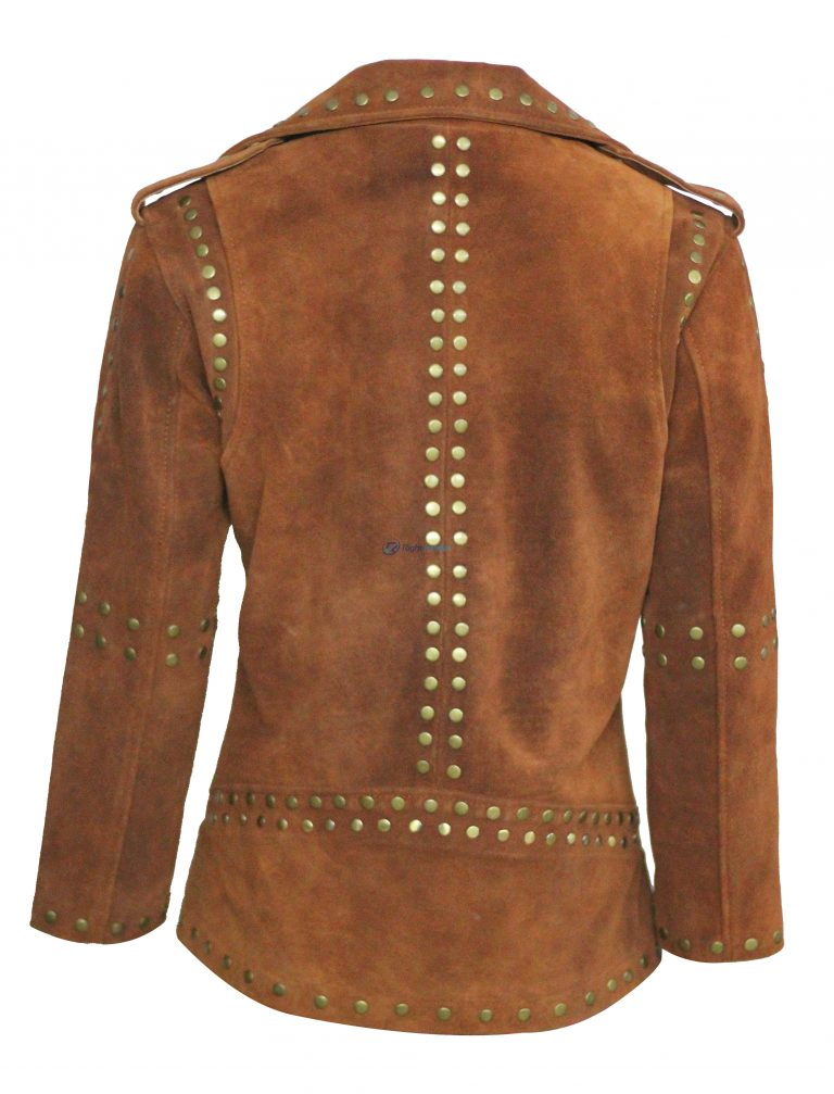 Women Brown Silver Studded Brando Leather Jacket