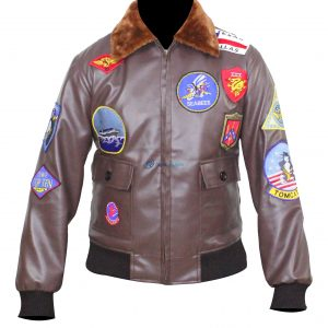 Women Top Gun Flight Brown Leather Biker Jacket (Copy)