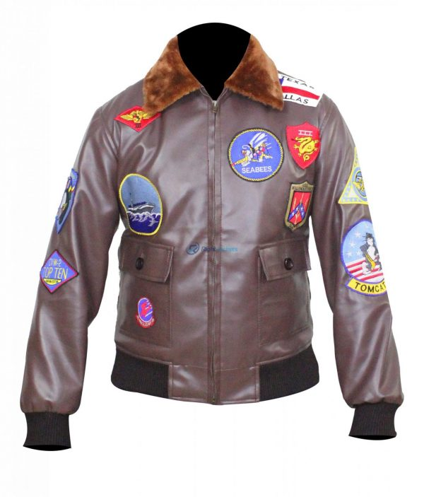 Women Top Gun Flight Brown Leather Biker Jacket