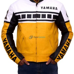 Yamaha Yellow Motorcycle Riding Leather Jacket
