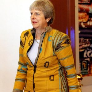 british prime minister theresa may brexit yellow jacket