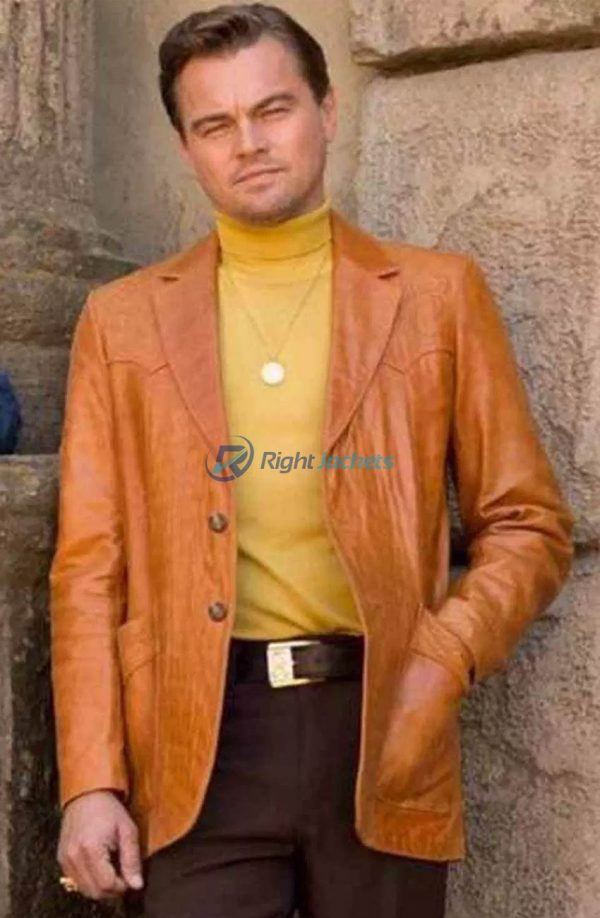 Leonardo Dicaprio Once Upon A Time In Hollywood Rick Dalton Dark Brown Leather Jacket