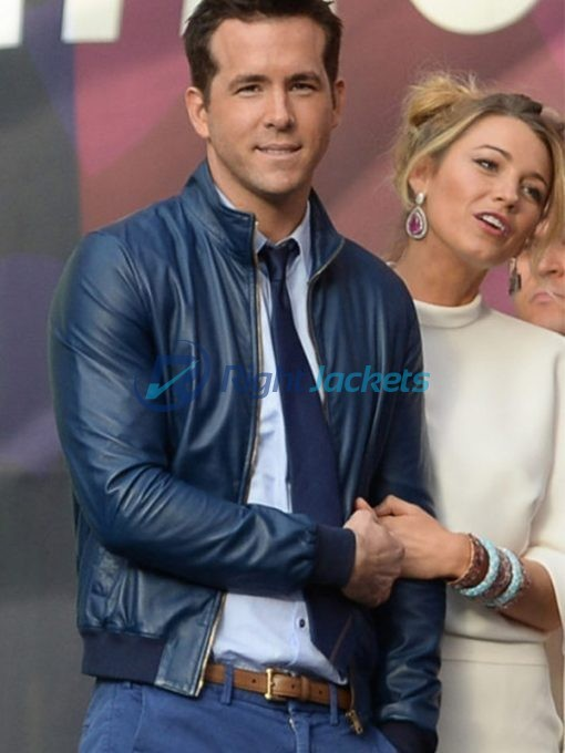 Ryan Reynolds 27 Times Blue Leather Jacket