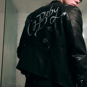 5SOS ashton cry baby Black leather jacket