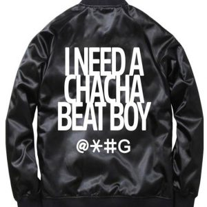 Black Cha Cha Beat Boy Bomber Satin Jacket