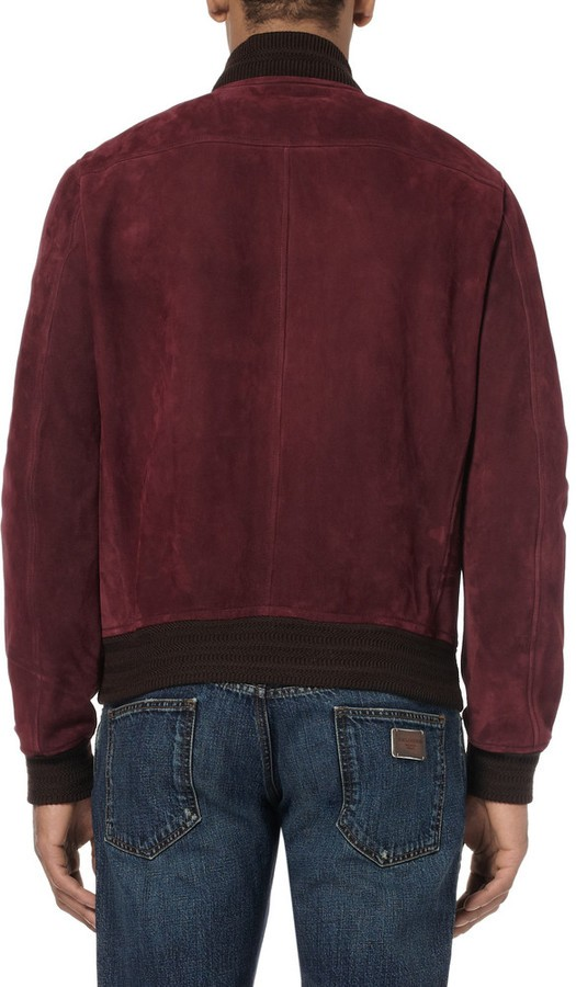 Burgundy Suede Leather Bomber Jacket Gucci