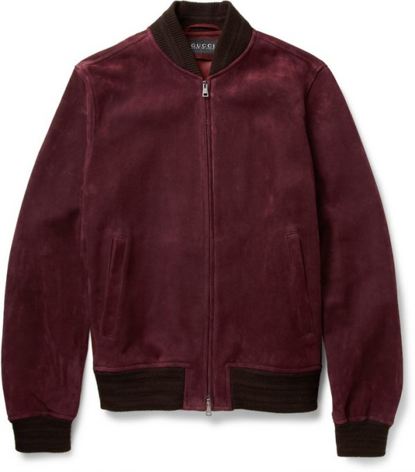 Gucci Burgundy Suede Leather Bomber Jacket