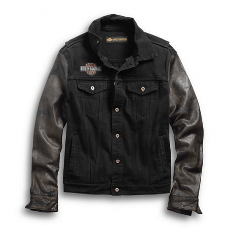 Harley Davidson Denim Leather Sleeves Jacket