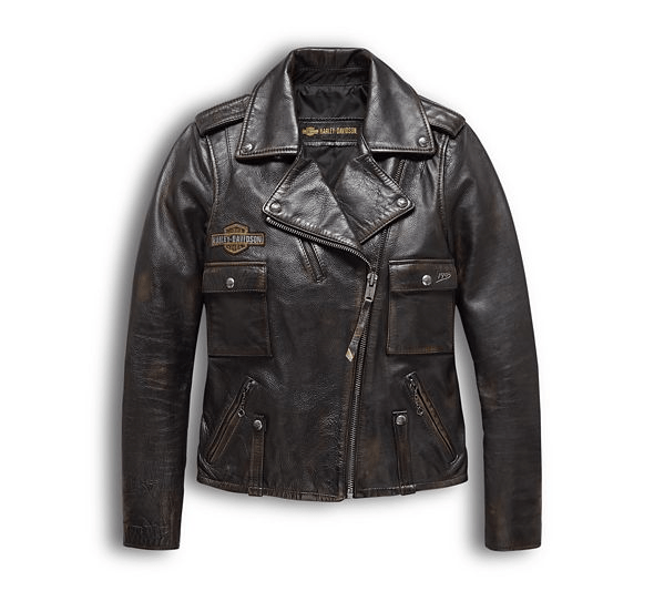 Harley Davidson Eagle Logo Distressed Leather Biker Jacket