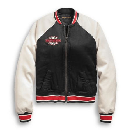 Harley Davidson Embroidered Satin Bomber Jacket