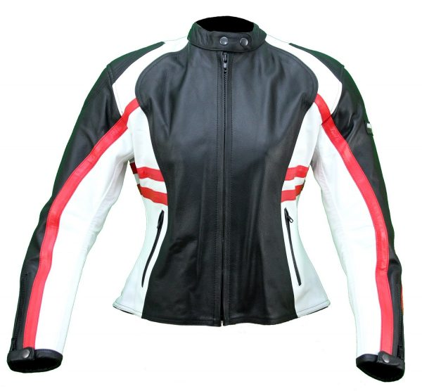 Kc016 Blouson moto FEMME cuir rouge blanc noir KARNO Female biker jacket red and black