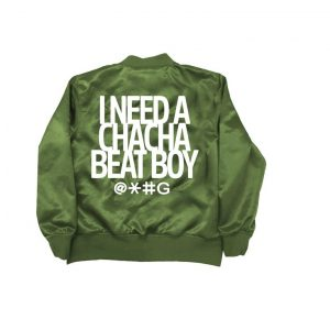 Olive Green Cha Cha Beat Boy Bomber Satin Jacket