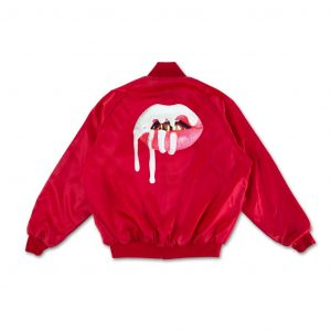 RED LIPS SATIN BOMBER JACKET