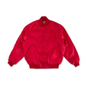 Red Lips Logo Satin Bomber Jacket