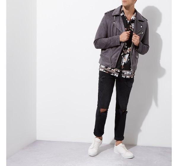River Island Grey Faux Suede Biker Jicket