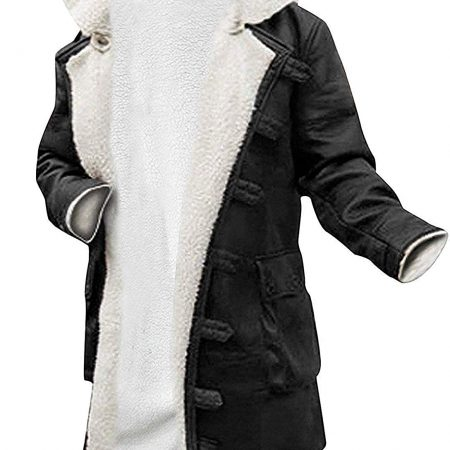 Bane Dark Knight Hardy Black Synthetic Leather Fur Rises Coat
