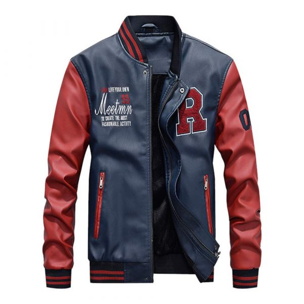 Baseball Varsity Embroidery Faux Leather Slimfit Jacket