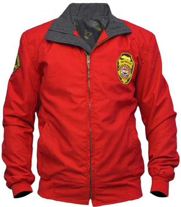 Baywatch Lifeguard Bomber Red Cotton Jacket
