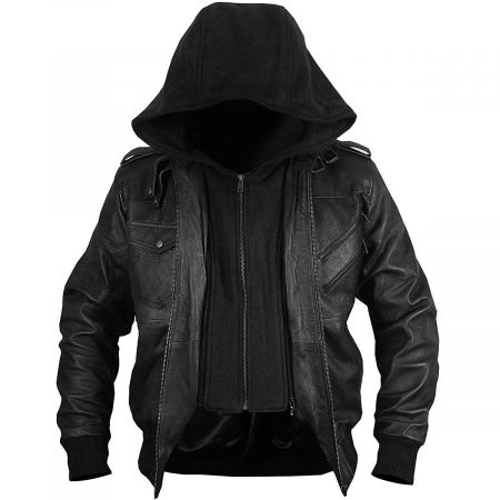 Black Genuine Leather Motorcycle Jacket Bomber Style Removable Hood Jacket